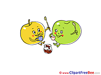 Cups of Tea Apples Clipart free Illustrations