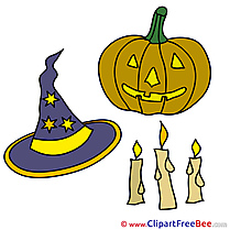 Candles Pumpkin Clipart Halloween Illustrations