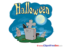 Cemetery Raven Cat printable Illustrations Halloween