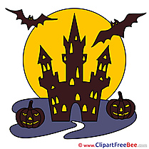Chateau Bats Pumpkins Halloween free Images download