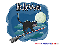 Clouds Cat Broom Night Pics Halloween Illustration