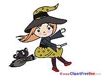 Flying Witch Cat free Cliparts Halloween