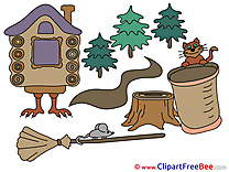 Hut on Chicken Legs Broom Mouse Clip Art download Halloween