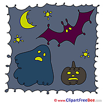 Spook Pumpkin Bat Moon printable Illustrations Halloween