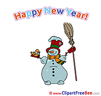 Bird Snowman Clipart New Year Illustrations