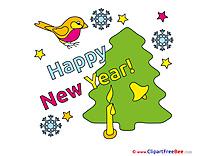 Bird Tree Pics New Year Illustration