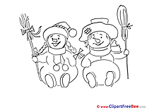 Coloring Snowmen New Year download Illustration