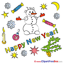 Crescent Snowman download New Year Illustrations