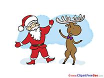 Deer Santa Claus Clip Art download New Year