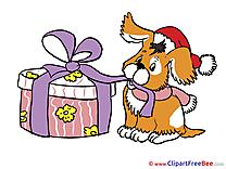 Dog Present Pics New Year Illustration