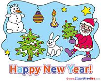 Hare Snowman Santa Claus Pics New Year Illustration
