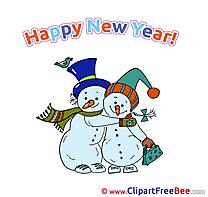 In Love Snowmen Pics New Year Illustration