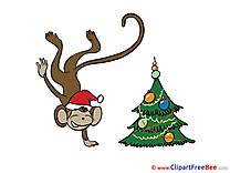 Monkey Tree New Year Clip Art for free