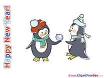 Penguins Wishes free Cliparts New Year