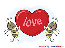 Bees Love Hearts Illustrations for free