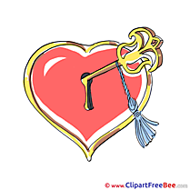 Key Lock Pics Hearts Illustration