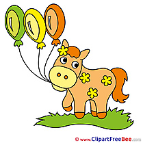 Balloons printable Illustrations Horse