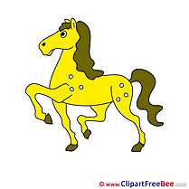 Yellow printable Illustrations Horse