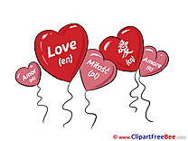 Balloons Hearts printable Illustrations I Love You