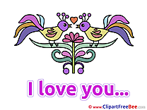 Birds Flower I Love You Illustrations for free