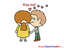 Boy Girl Kiss Me Clipart I Love You Illustrations