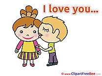 Enamored Boy Girl Kiss I Love You download Illustration