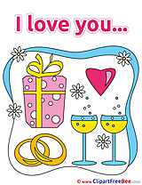 Gift Rings Champagne Flowers I Love You Clip Art for free