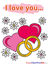 Rings Flowers Hearts Cliparts I Love You for free