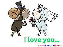 Sheeps Wedding Kiss free Cliparts I Love You