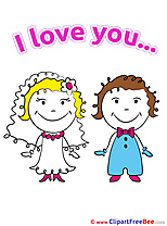 Wedding Groom Bride printable Illustrations I Love You
