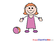 Ball Girl playing Pics Kindergarten Illustration