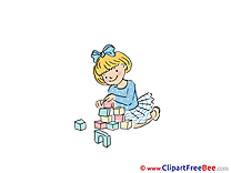 Blocks Girl plays free Illustration Kindergarten