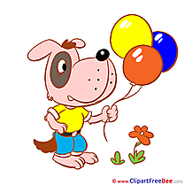 Dog with Balloons download Kindergarten Illustrations