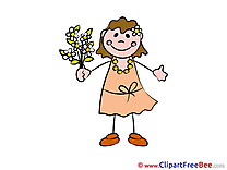 Flowers Girl Clipart Kindergarten Illustrations
