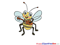 Guitar Bee plays printable Kindergarten Images