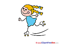 Roller Skates little Girl Clip Art download Kindergarten