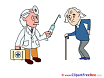 Patient Old Man Doctor Pics printable Cliparts