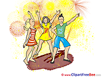 Firework People Dance Clipart Party Illustrations