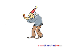 Old Man Celebration download Party Illustrations