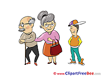 Grandson Grandfather Grandma free Illustration download