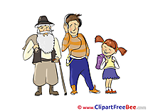 Old Man Girl Man Clipart free Illustrations