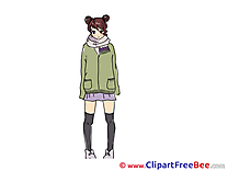 Scarf Jacket Girl printable Images for download