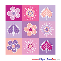 Decoration Flowers Leaves Cliparts printable for free