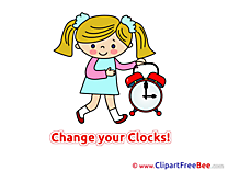 Girl with Clock Clip Art download Summer