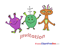 Aliens Invitations Wish Card