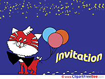 Balloons Cat Wishes Invitations Greeting Cards