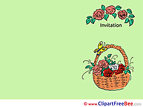 Basket with Roses Invitations Greeting Card for free