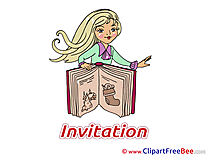 Book Girl Greeting Card download Invitations