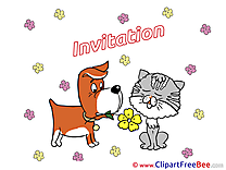 Cat and Dog printable Invitations eCards