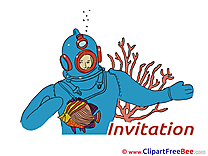 Diver Invitations download Greeting Cards